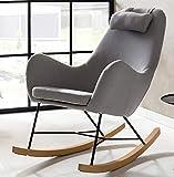 Designer Stillstuhl aus Stoff mit Armlehnen grau - 9